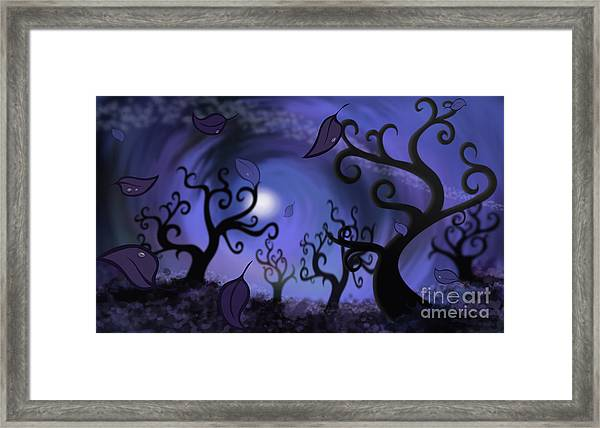Illustration Print Of Spooky Forest Of Curly Trees Framed Print