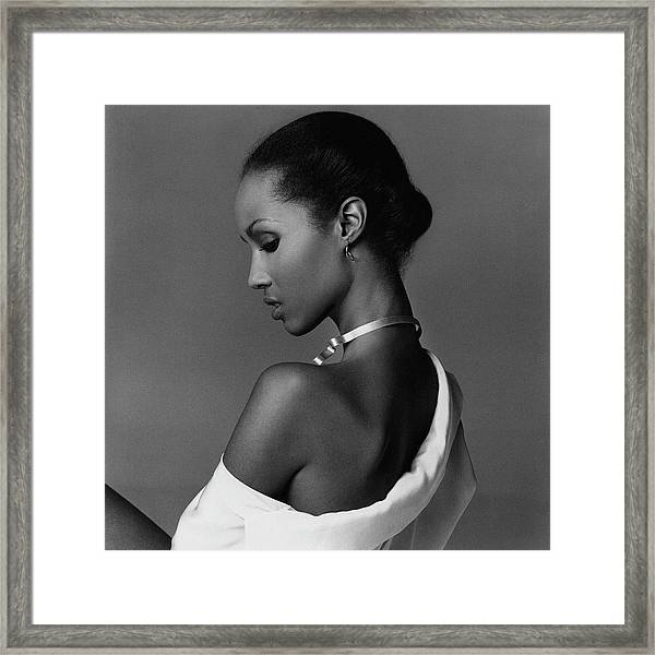 Iman Wearing A Necklace Framed Print