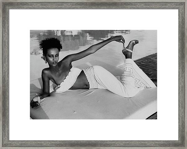 Iman Wearing A Yves Saint Laurent Skirt Framed Print