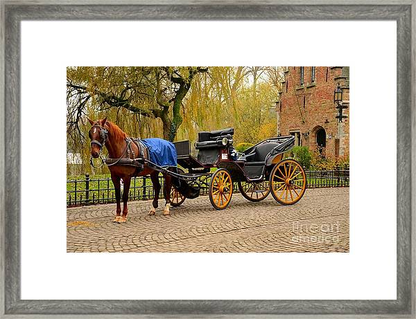 Immaculate Horse And Carriage Bruges Belgium Framed Print
