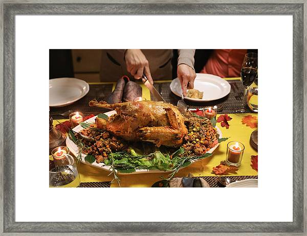 Immigrant Families Celebrate Thanksgiving In Connecticut Framed Print by John Moore