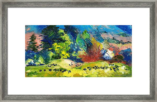 Impressionist Landscape With Cows Fine Art Oil Painting Framed Print