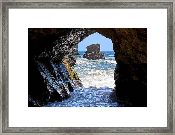 In A Cave By The Sea - Northern Caifornia Framed Print