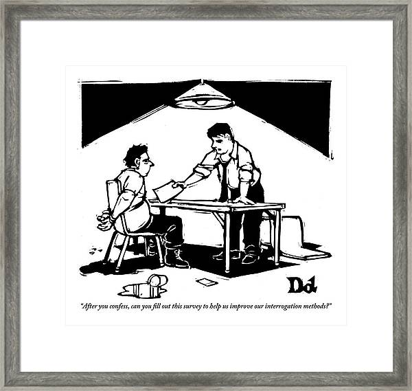 In A Stereotypical Interrogation Room Framed Print