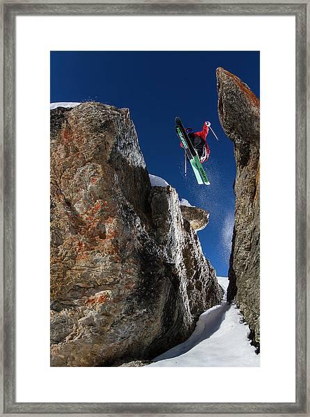 In Between The Rocks Framed Print by Tristan Shu