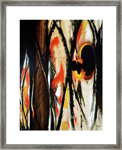 Framed Print featuring the painting In The Burning Thistle I See The Heart Of Man by R Johnson