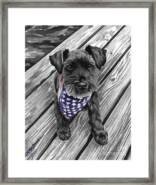Watercolor Schnauzer Black Dog Framed Print