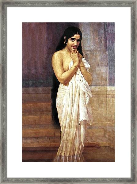 Indian Girl After Bath Framed Print