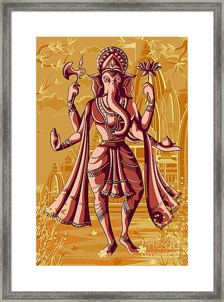 Indian God Ganpati In Blessing Posture Framed Print