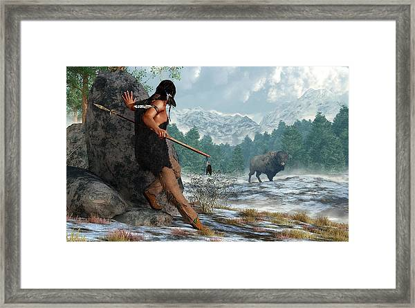 Indian Hunting With Atlatl Framed Print