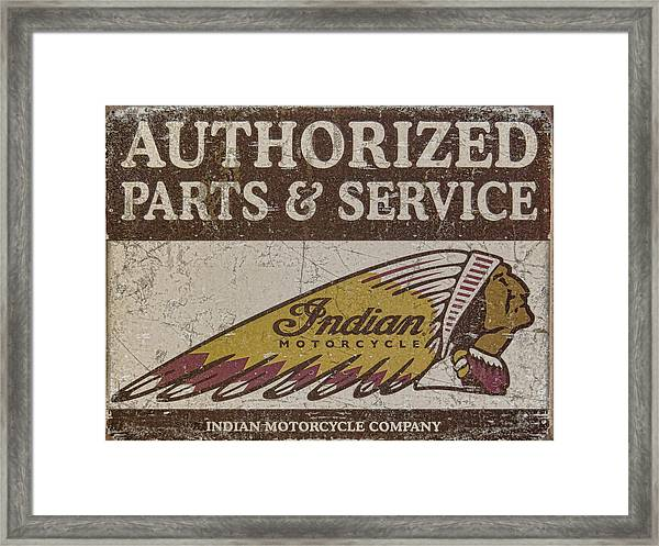 Indian Motorcycle Sign Framed Print