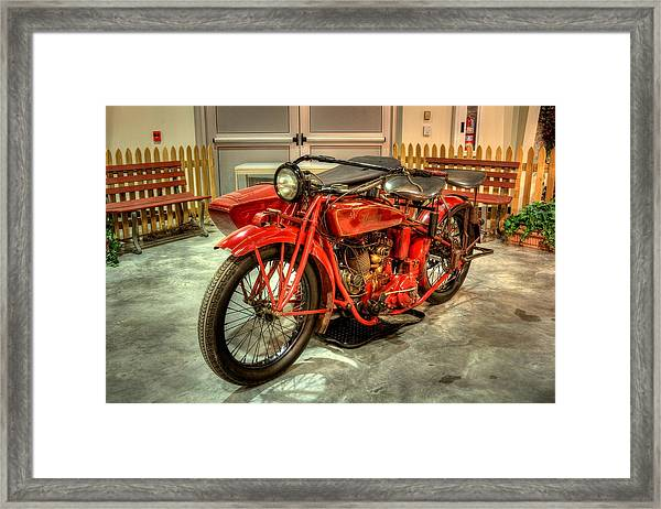 Indian Motorcycle With Sidecar Framed Print