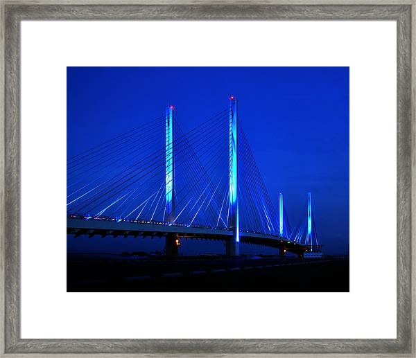 Indian River Bridge At Night Framed Print