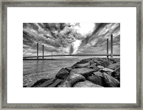 Indian River Bridge Clouds Black And White Framed Print