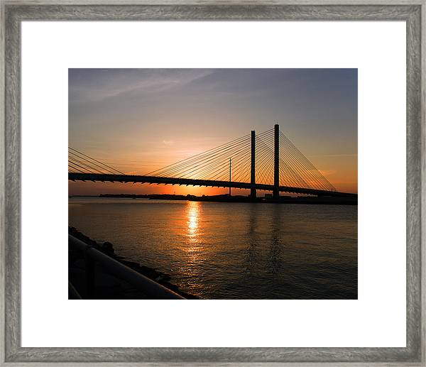 Indian River Bridge Sunset Reflections Framed Print