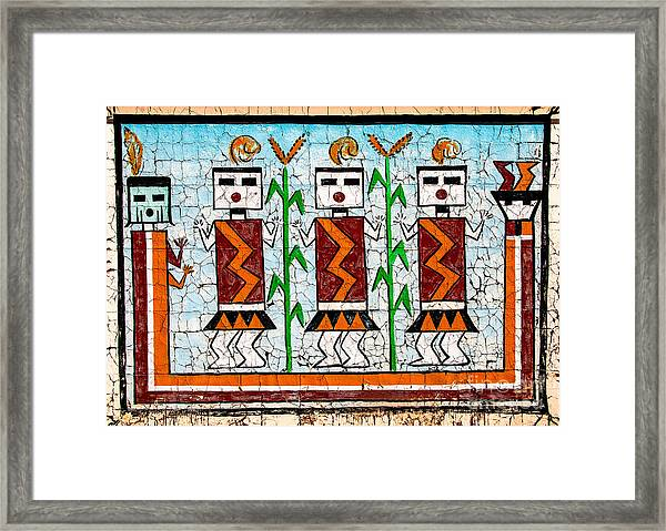 Indian Tapestry Framed Print by Mae Wertz