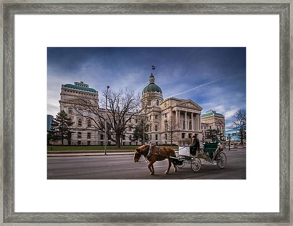 Indiana Capital Building - Front With Horse Passing Framed Print