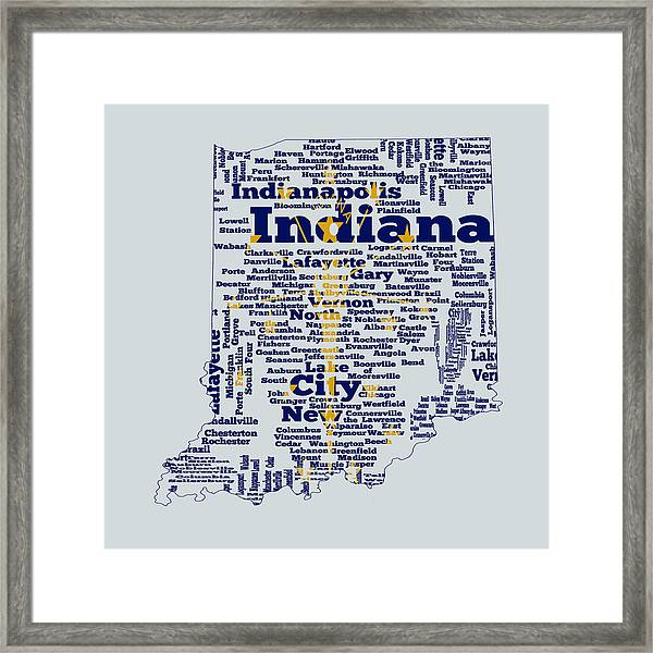 Indiana State Flag Word Cloud Framed Print