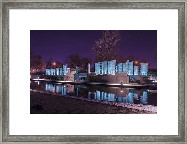 Indianapolis Canal Walk Medal Of Honor Memorial Night Lights Framed Print
