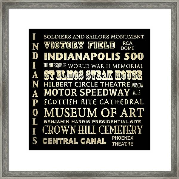 Indianapolis Famous Landmarks Framed Print