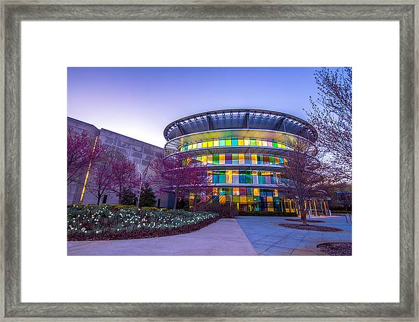 Indianapolis Museum Of Art Blue Hour Lights Framed Print