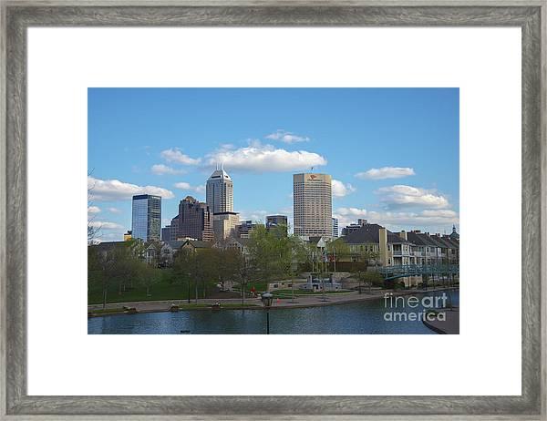 Indianapolis Skyline Blue 2 Framed Print