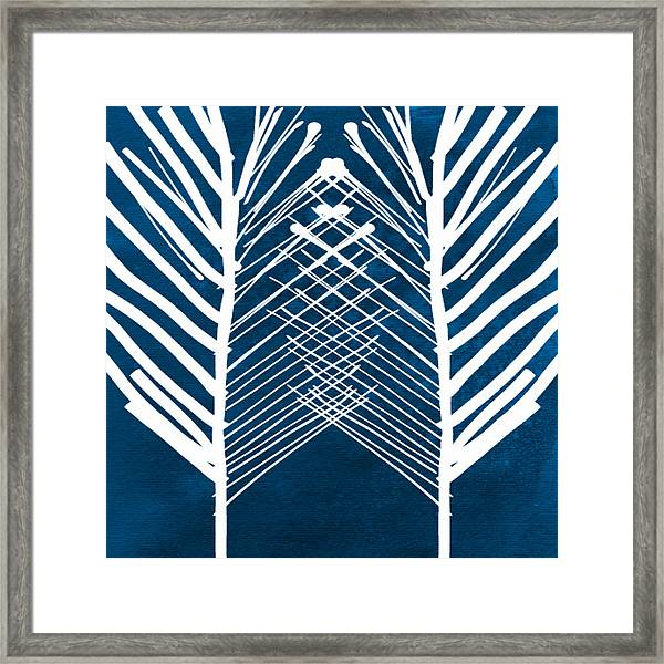 Indigo And White Leaves- Abstract Art Framed Print