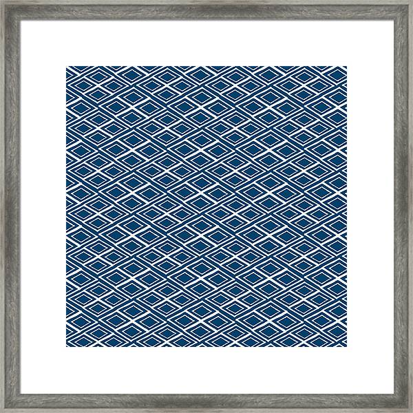 Indigo And White Small Diamonds- Pattern Framed Print