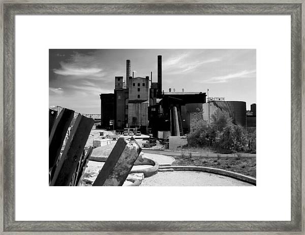 Industrial Power Plant Landscape Smokestacks Framed Print