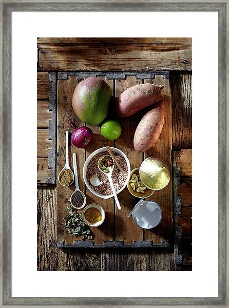 Ingredients For Mango Marsala Framed Print