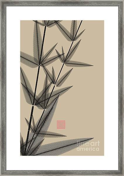 Ink Style Bamboo Illustration In Black Framed Print