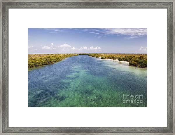 Inlet Leading To Caribbean Ocean Framed Print