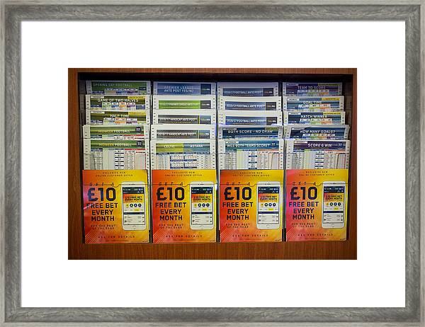 Inside A William Hill Plc Betting Shop As The Rank Group Plc And 888 Holdings Plc Mull Possible Joint Takeover Offer Framed Print by Bloomberg