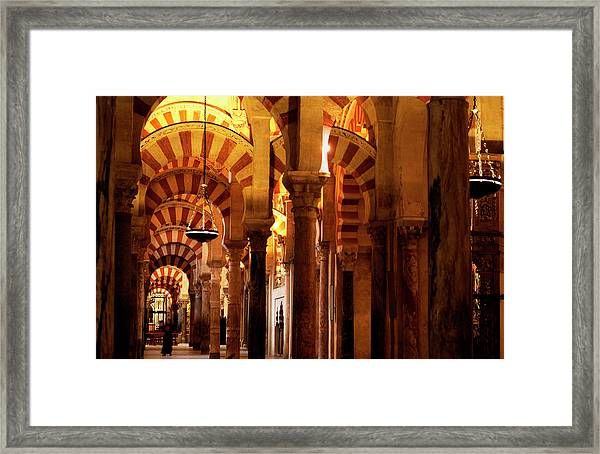 Framed Print featuring the photograph Inside The Mezquita by Lorraine Devon Wilke