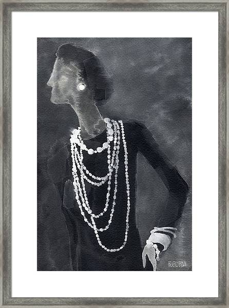 Inspired By Chanel Fashion Illustration Art Print Framed Print by Beverly Brown