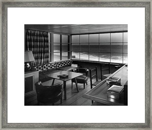 Interior Of Beach House Owned By Anatole Litvak Framed Print