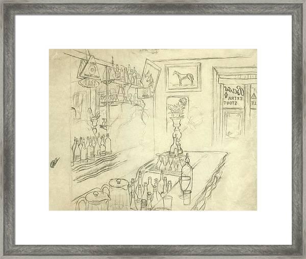 Interior Of Jack Mccann's Bar Framed Print by Carl Oscar August Erickson