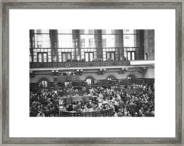 Interior Of Ny Stock Exchange Framed Print