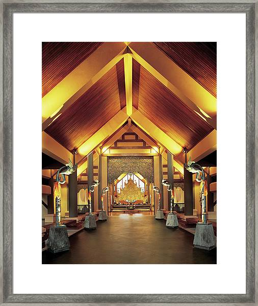Interior View Of Temple Framed Print