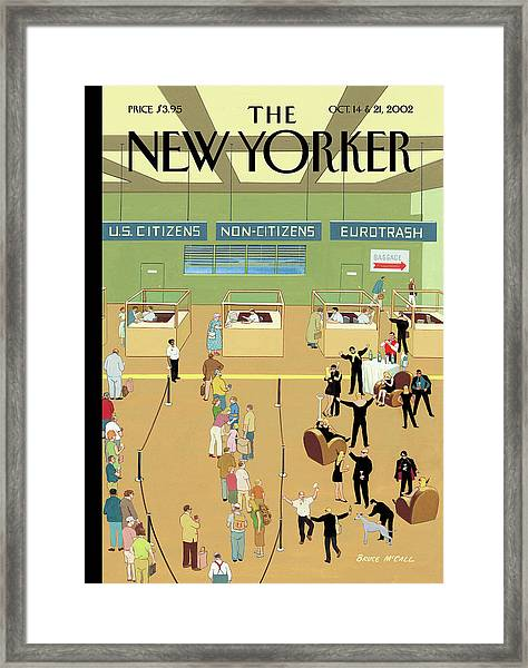 International Arrivals Framed Print by Bruce McCall