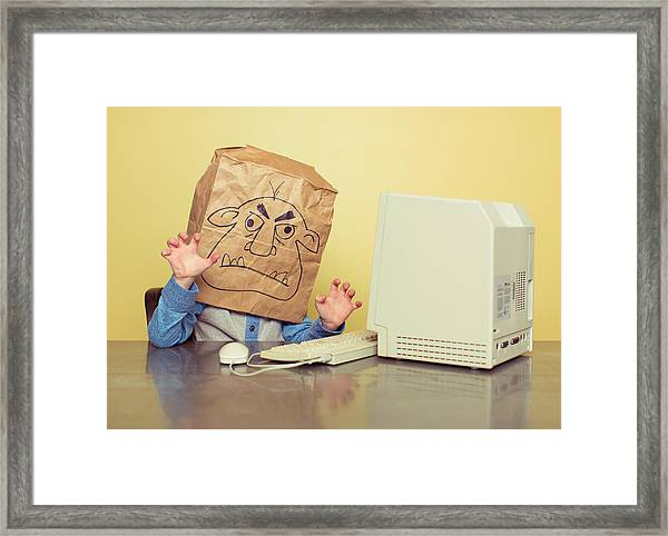 Internet Troll Is Mean At The Computer Framed Print by RichVintage