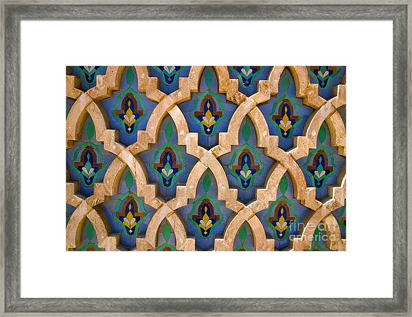 Intricate Zelji At The Hassan II Mosque Sour Jdid Casablanca Morocco Framed Print by PIXELS  XPOSED Ralph A Ledergerber Photography