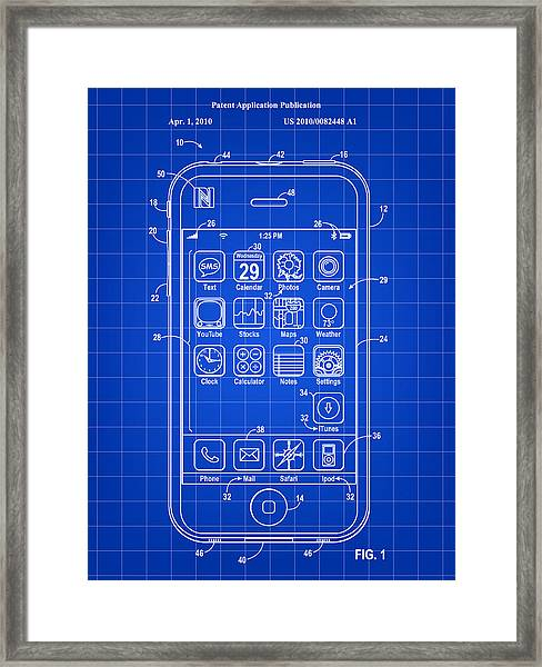 iPhone Patent - Blue Framed Print