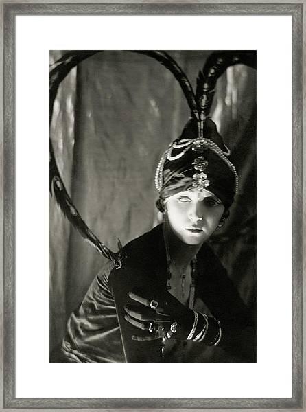 Irene Castle Wearing A Headdress Framed Print
