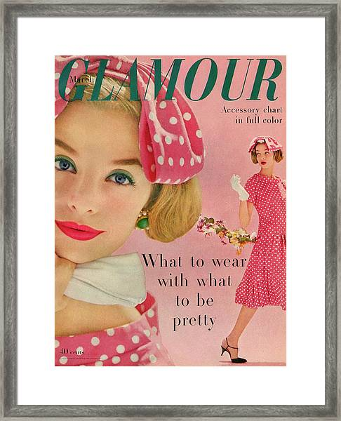 Iris Bianchi On The Cover Of Glamour Framed Print