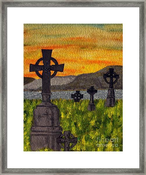 Irish Cemetery-painting Framed Print
