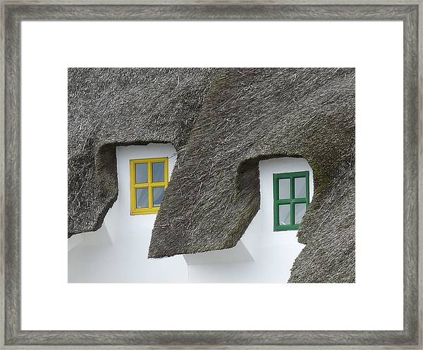 Irish Thatch Cottage Colored Windows Framed Print by Patrick Dinneen