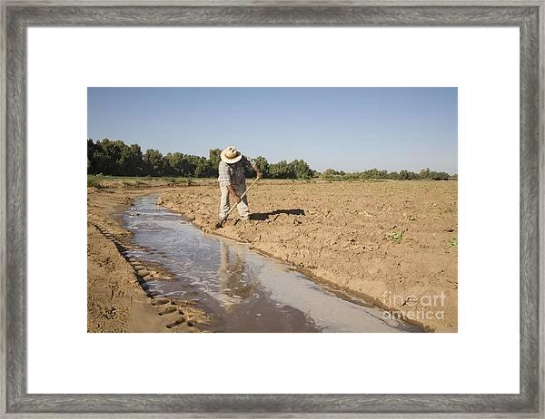 Irrigation In Arizona Desert Framed Print