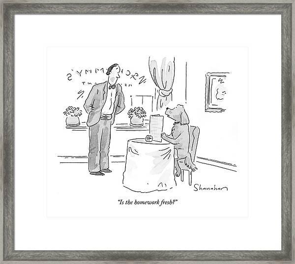 Is The Homework Fresh? Framed Print