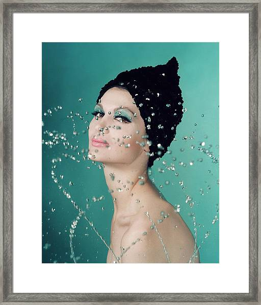 Isabelle Albonico Wearing A Hat By Adolfo Of Emme Framed Print by John Rawlings